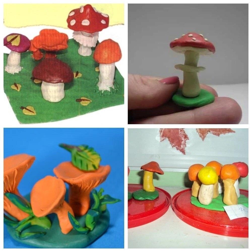 Поделка грибная полянка из пластилина для детей003