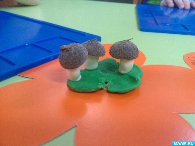 Поделка грибная полянка из пластилина для детей005