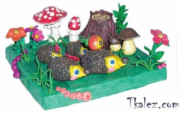 Поделка грибная полянка из пластилина для детей006