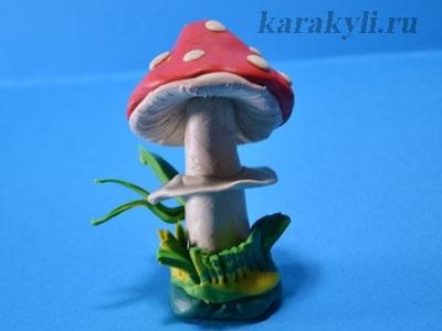 Поделка грибная полянка из пластилина для детей007