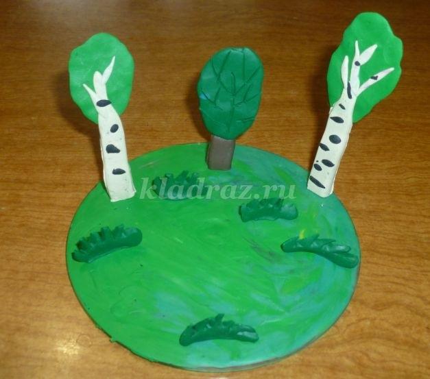 Поделка грибная полянка из пластилина для детей008