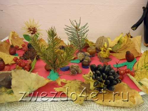 Поделка грибная полянка из пластилина для детей009