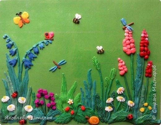 Поделка грибная полянка из пластилина для детей010