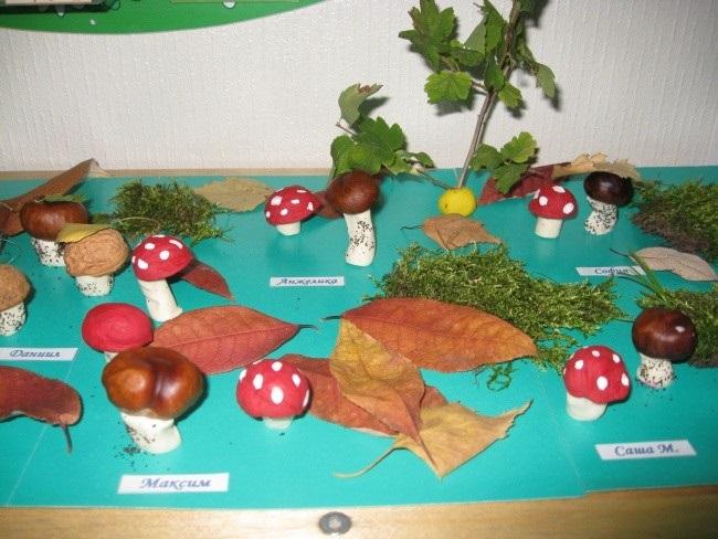 Поделка грибная полянка из пластилина для детей014