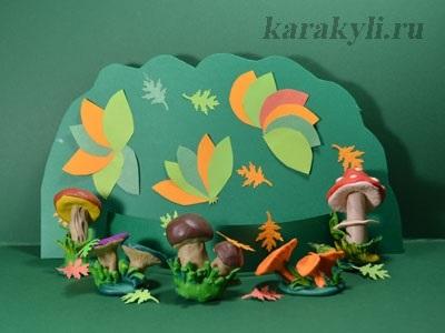 Поделка грибная полянка из пластилина для детей018