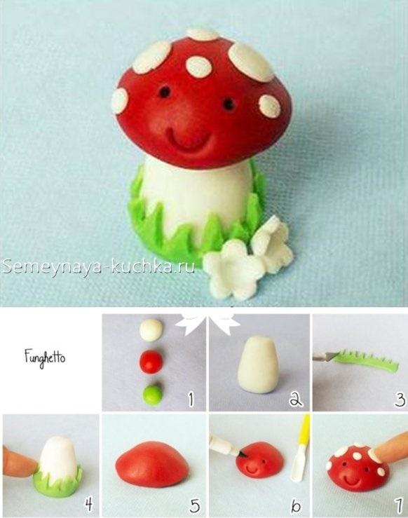 Поделка грибная полянка из пластилина для детей020