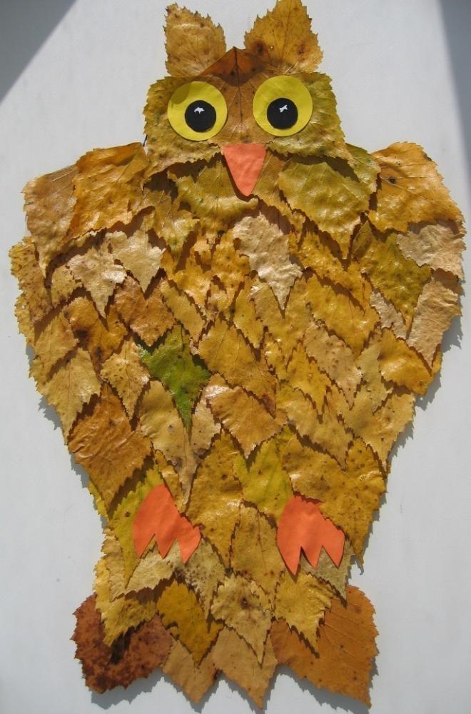 Поделки совы из листьев004
