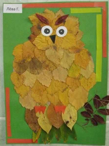 Поделки совы из листьев005