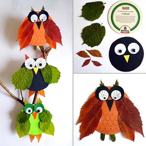 Поделки совы из листьев006