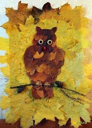 Поделки совы из листьев015