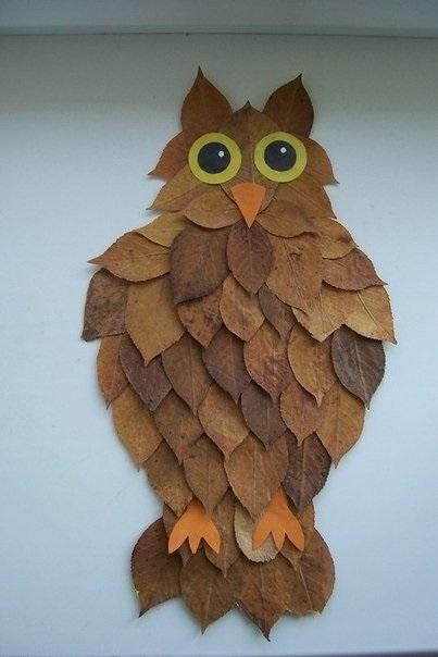 Поделки совы из листьев018