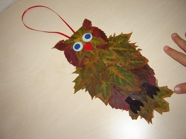 Поделки совы из листьев020