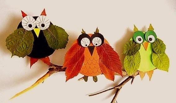 Поделки совы из листьев024