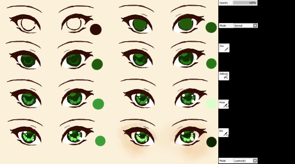 Подробные туториалы аниме глаз (10)