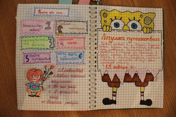 Прикольное оформление личного дневника внутри - фото (14)