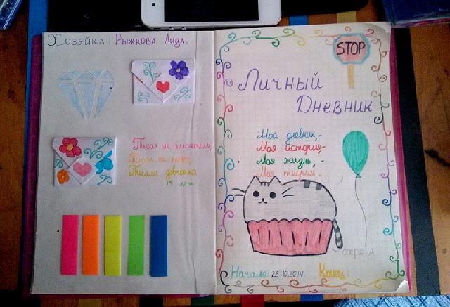 Прикольное оформление личного дневника внутри - фото (17)