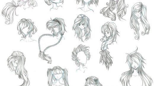 Прически аниме рисуем карандашом006