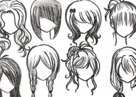 Прически аниме рисуем карандашом014