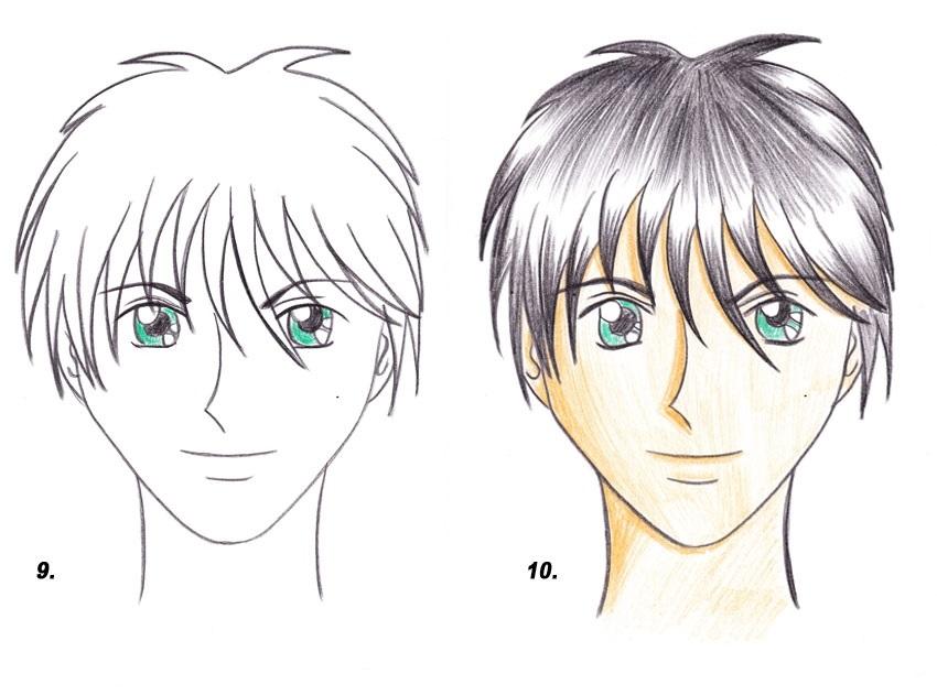 Прически аниме рисуем карандашом015