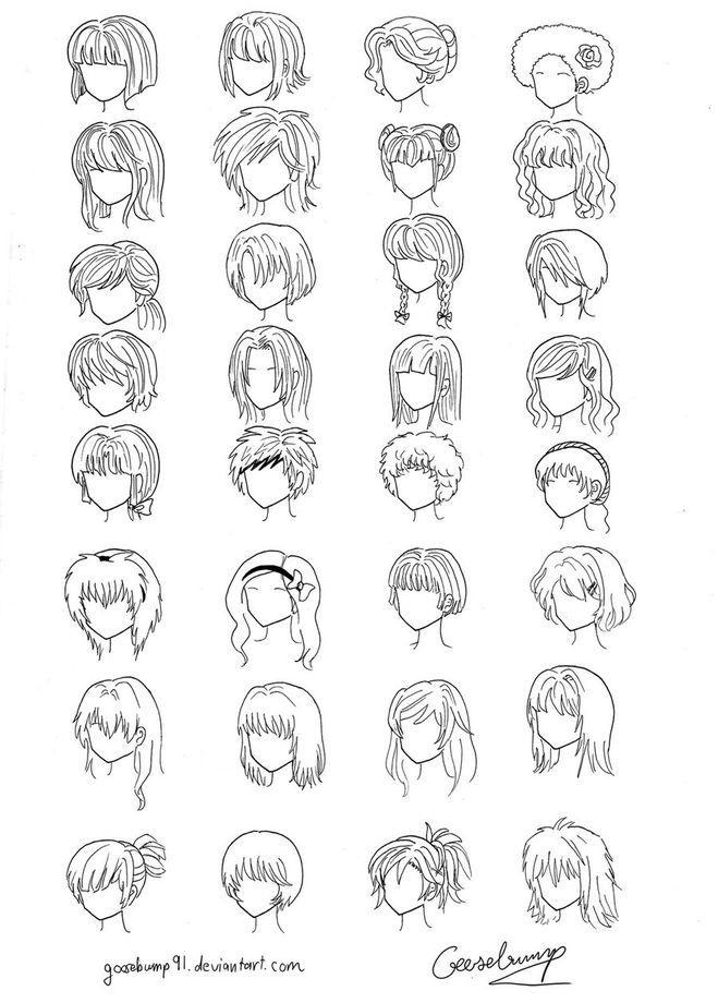 Прически аниме рисуем карандашом018