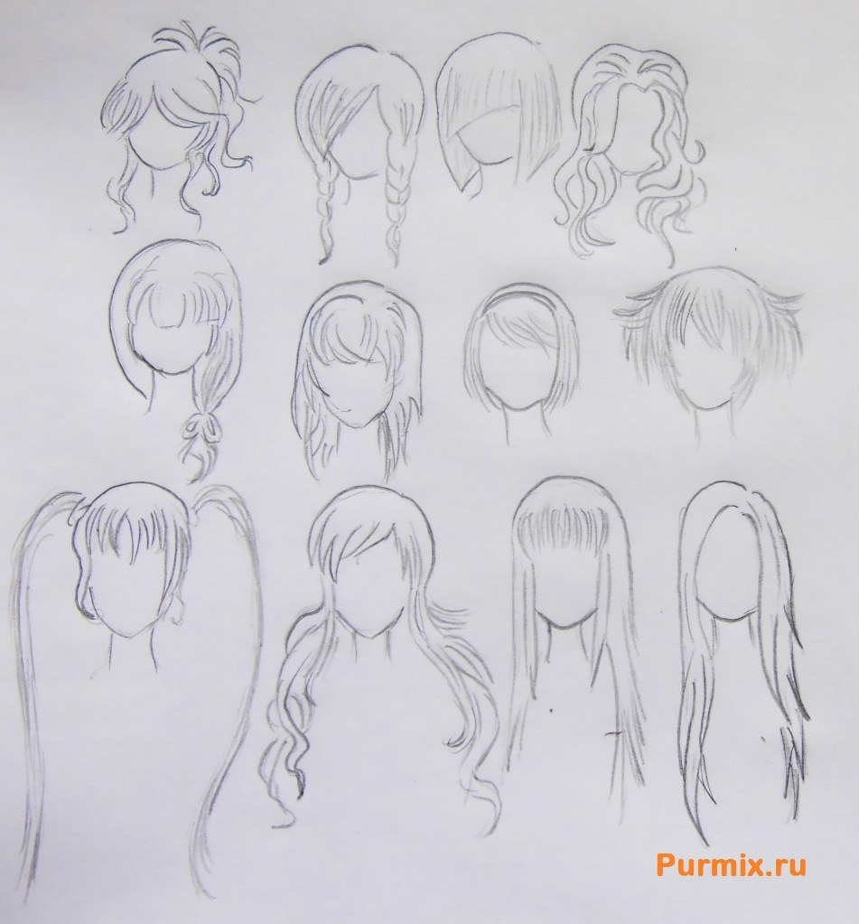 Прически аниме рисуем карандашом022