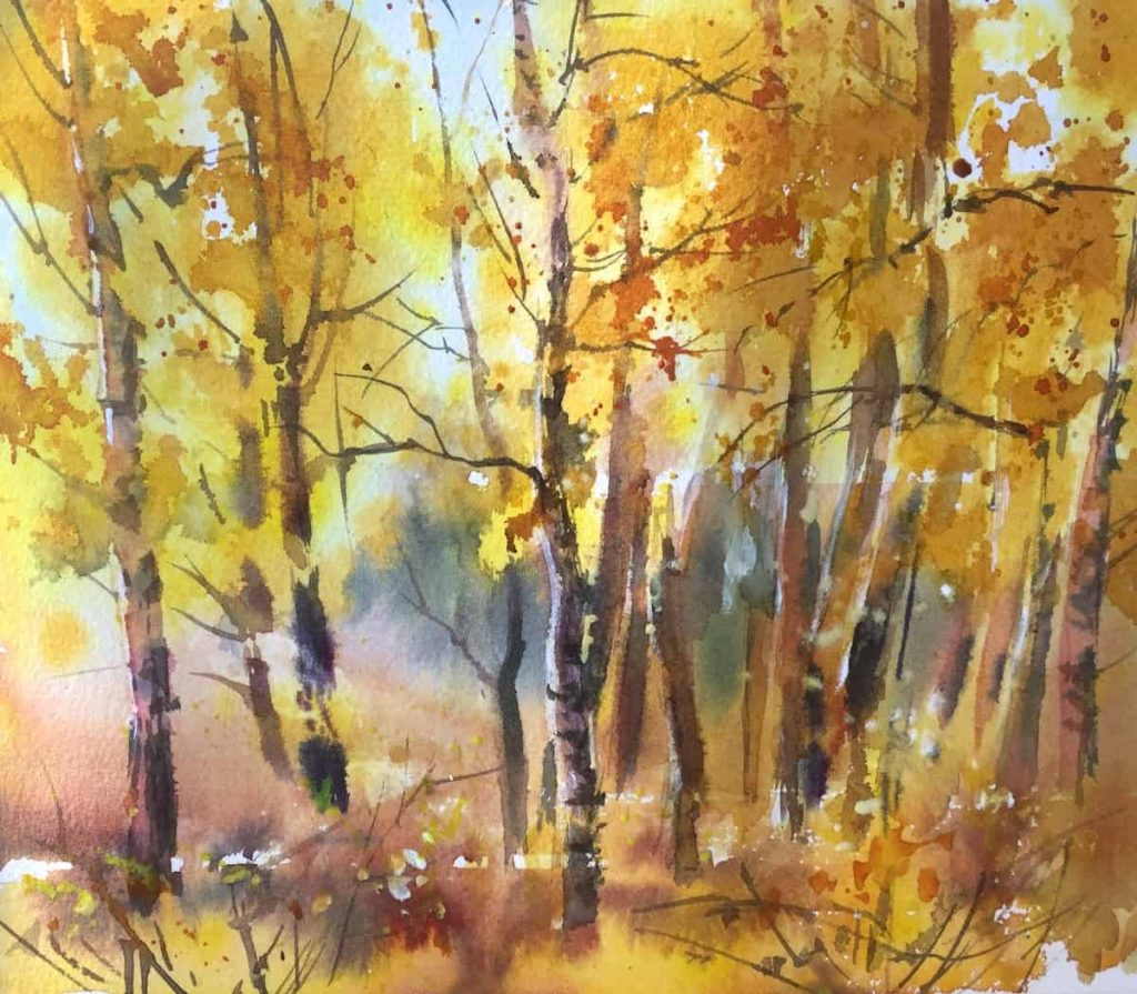 Рисование осеннего пейзажа гуашью - лучшие картины (1)