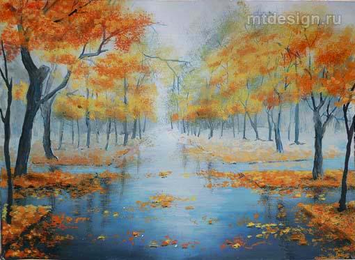 Рисование осеннего пейзажа гуашью - лучшие картины (10)