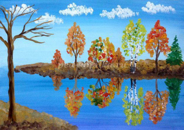 Рисование осеннего пейзажа гуашью - лучшие картины (11)