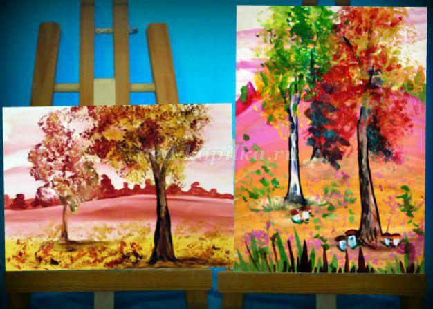Рисование осеннего пейзажа гуашью - лучшие картины (12)