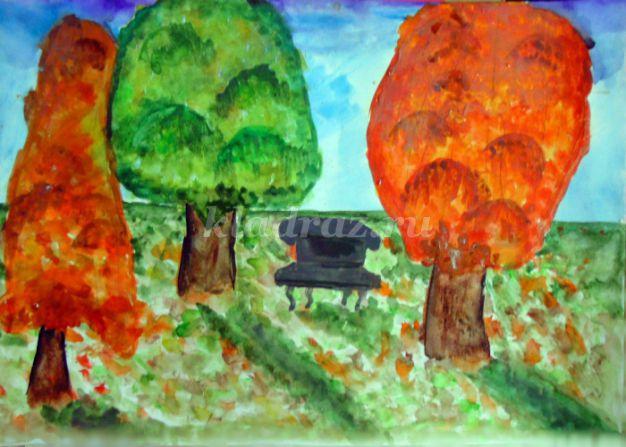 Рисование осеннего пейзажа гуашью - лучшие картины (14)