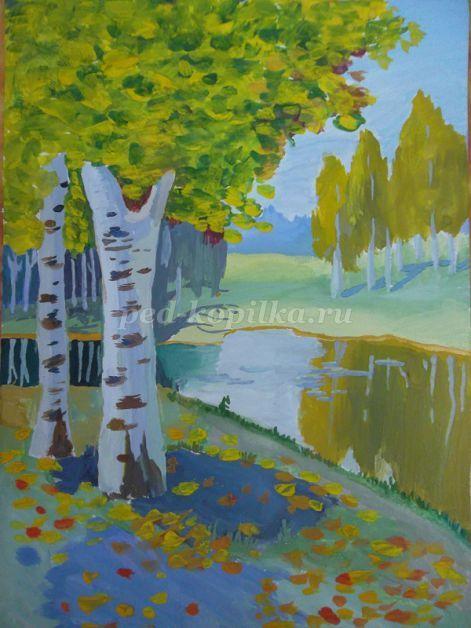 Рисование осеннего пейзажа гуашью - лучшие картины (15)
