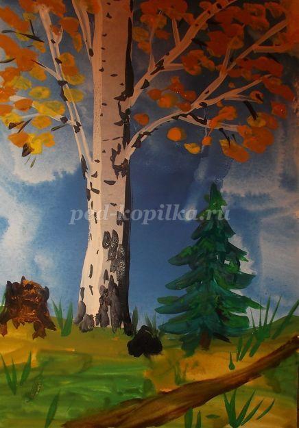 Рисование осеннего пейзажа гуашью - лучшие картины (17)