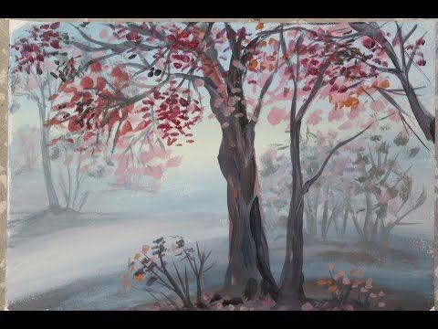Рисование осеннего пейзажа гуашью - лучшие картины (19)