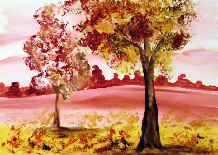 Рисование осеннего пейзажа гуашью - лучшие картины (2)
