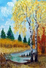 Рисование осеннего пейзажа гуашью - лучшие картины (20)
