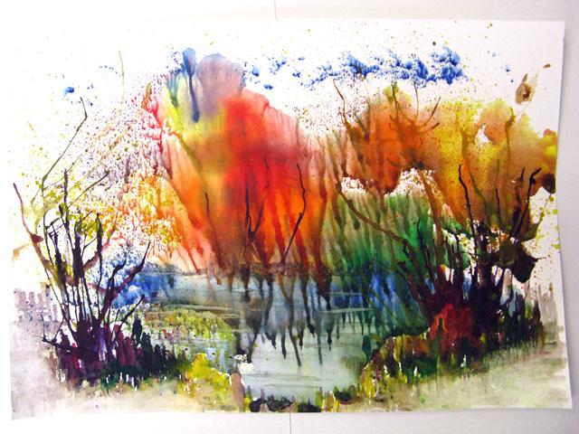 Рисование осеннего пейзажа гуашью - лучшие картины (23)