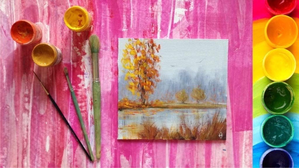 Рисование осеннего пейзажа гуашью - лучшие картины (24)