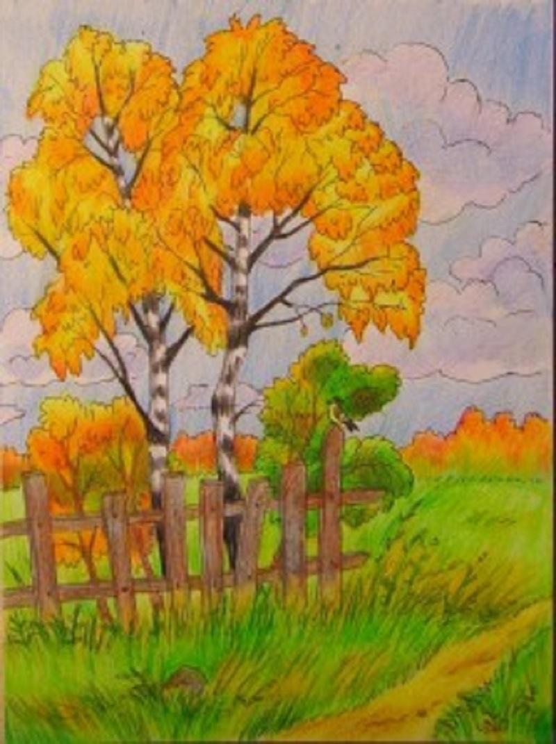 Рисование осеннего пейзажа гуашью   лучшие картины (25)