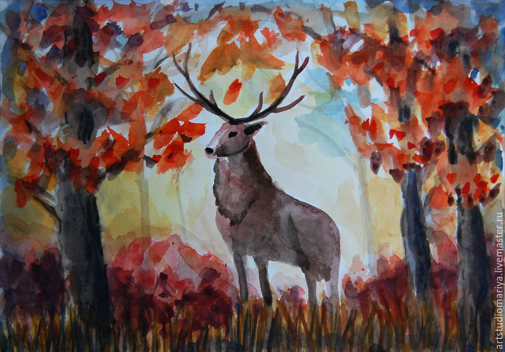 Рисование осеннего пейзажа гуашью - лучшие картины (26)