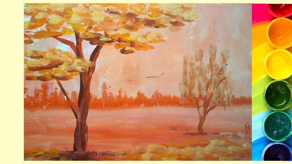 Рисование осеннего пейзажа гуашью - лучшие картины (28)