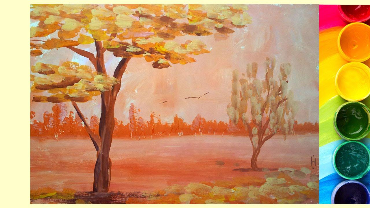 Рисование осеннего пейзажа гуашью   лучшие картины (28)
