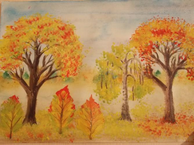 Рисование осеннего пейзажа гуашью - лучшие картины (5)