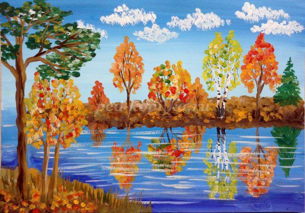 Рисование осеннего пейзажа гуашью - лучшие картины (6)