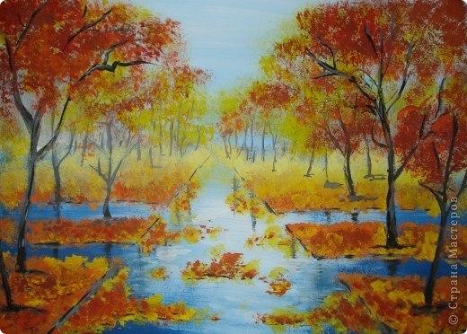 Рисование осеннего пейзажа гуашью - лучшие картины (7)
