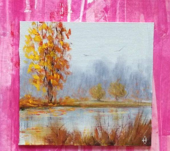 Картинки осенний пейзаж гуашью поэтапно