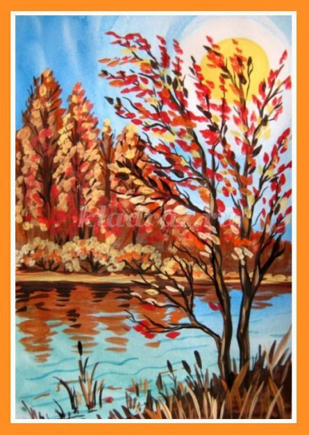 Рисование осеннего пейзажа гуашью - лучшие картины (9)