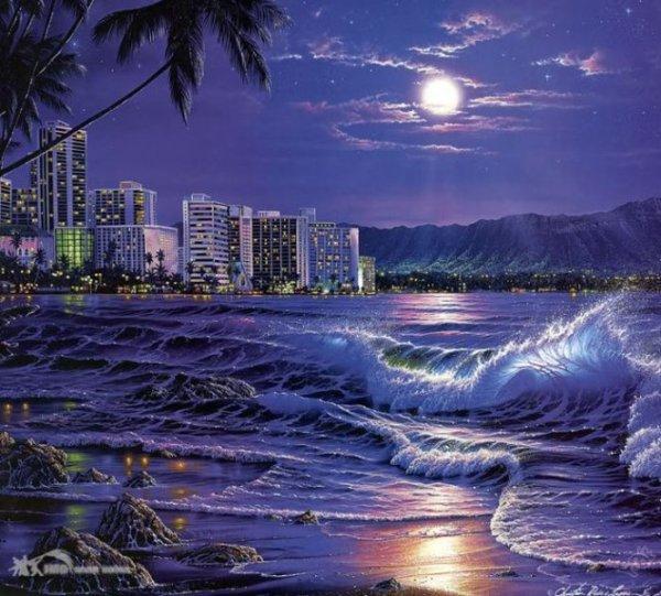 Рисунки город у моря - 20 изображений (17)