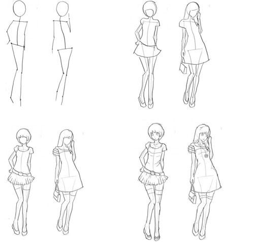 Рисунки девушек карандашом в полный рост в платьях (11)