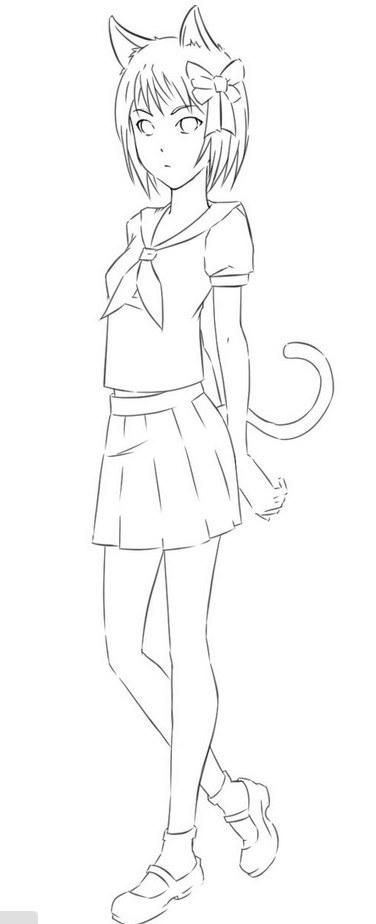 Рисунки девушек карандашом в полный рост в платьях (12)