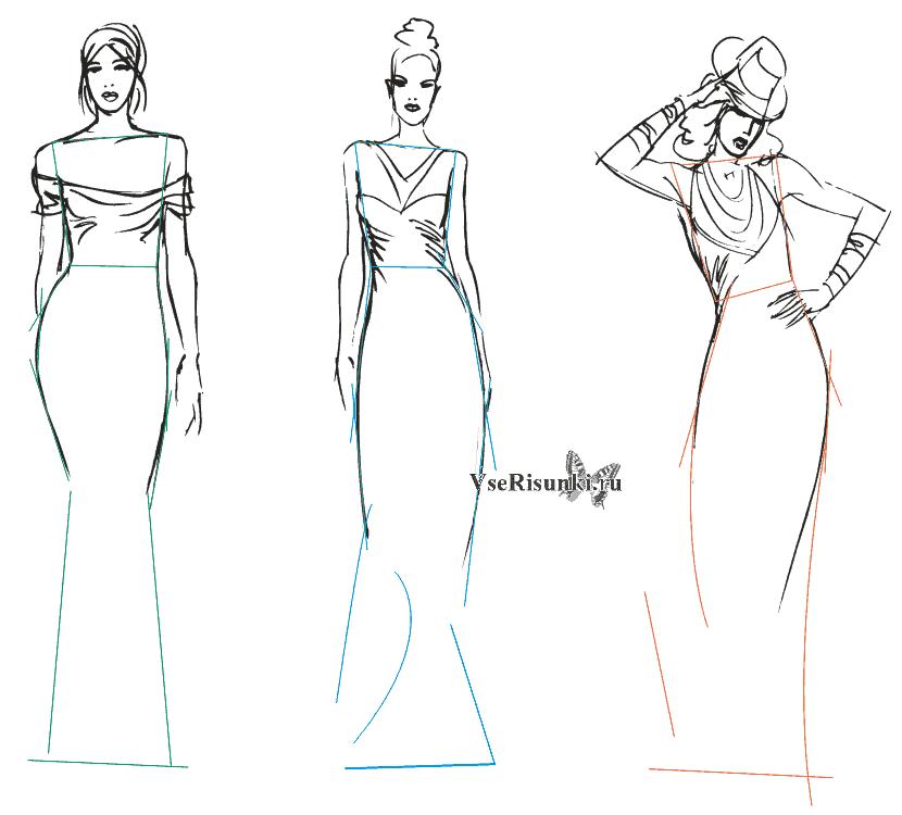 Рисунки девушек карандашом в полный рост в платьях (13)
